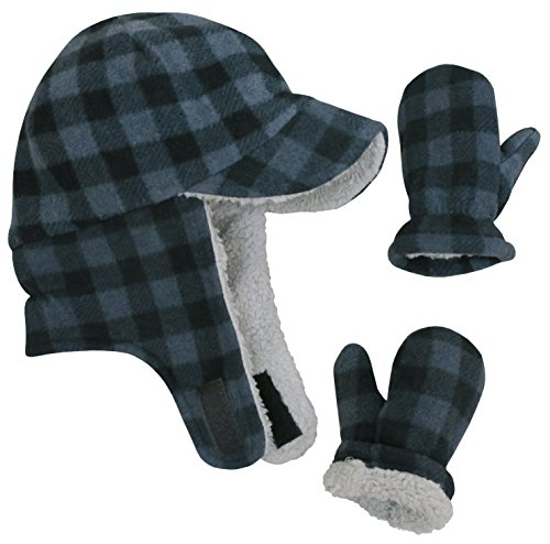 N'Ice Caps Little Boys and Baby Sherpa Lined Fleece Flap Hat Mitten Winter Set (4-6 Years, Charcoal Gray Buffalo Plaid)