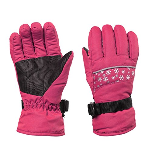 Children Outdoor Warm Waterproof Snowboard Snowmobile Motorcycle Riding Winter Ski Skiing Gloves with Adjustable Wrist Strap