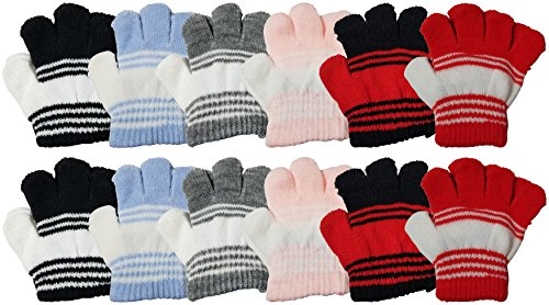12 Pairs Baby Winter Magic Gloves for Toddlers, Stretchy Warm Bulk Pack Boys Girls Children (Assorted)