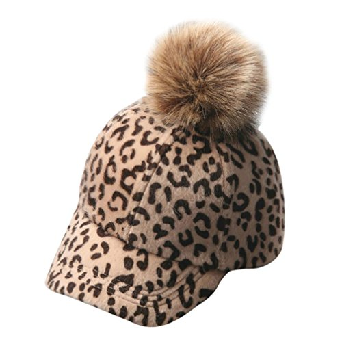 WuyiMC Baseball Hat with Pom, Cute Baby Boys Girls Leopard Printed Hats Winter Warm Hat Caps (Khaki)