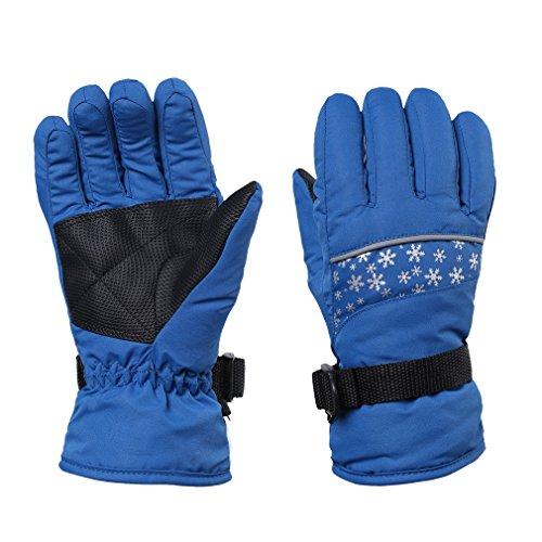 FISOUL Kids Winter Gloves Children Snowboard Gloves with Adjustable Wrist Strap (S, Lake Blue)