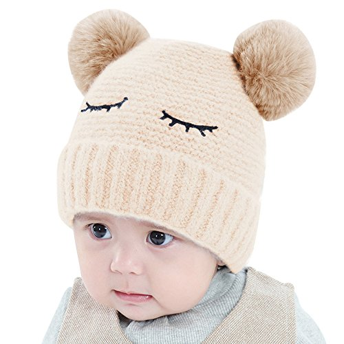 Elaco Beanie Skull Slouchy Caps, Boy Girls Warm Crochet Winter Knit Cotton Ski Hat (Beige-2018)