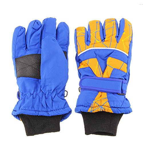 Insulated Winter Cold Weather Ski Gloves for Kids (Boys and Girls) Waterproof Windproof (Small, Blue)