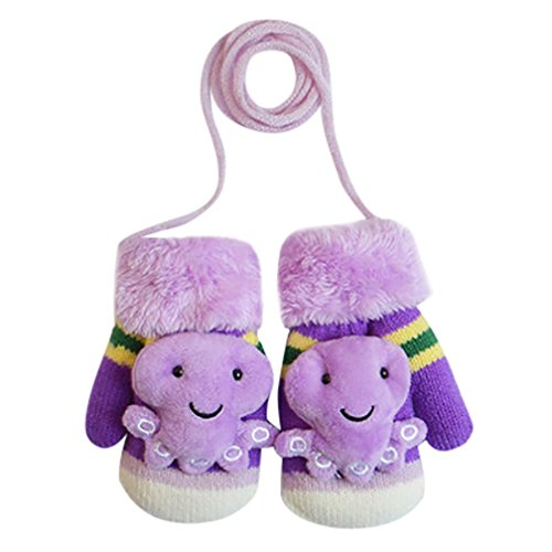 Baby Winter Mittens,ChainSee Boys Girls Cute Cartoon Thicken Gloves With String (Purple, A)