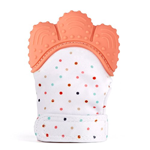 Silicone Baby Teether Mitten, S-World Kee Like Teething Toys for Teething Ring Provides Self-Soothing Fun- Ideal Baby Shower Gift with Handy Travel Bag (Orange red)