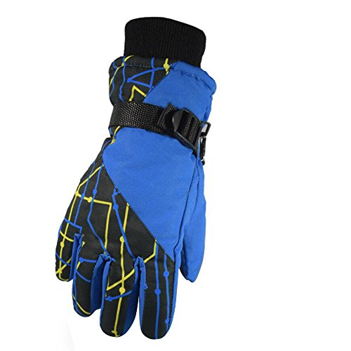 Children's Gloves Outdoor Ride Drive Gloves Windproof And Waterproof Gloves (Blue)