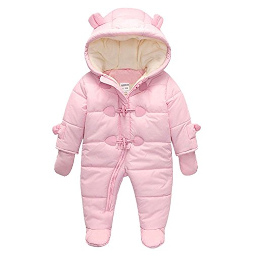 TeenMiro Baby Winter Jumpsuit Newborn Fleece Romper Infant Snowsuit Pattern Pink Blue 0-24 Months