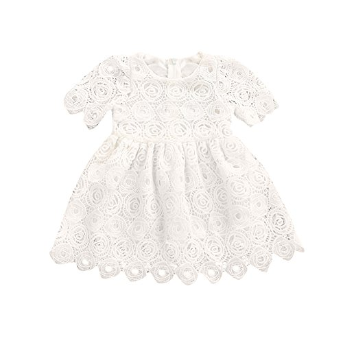 Memela Baby Girls Clothes, Layette Lace Short Sleeve Princess White 0-24 Months Infant Wear Spring/Summer (0-6 Months)