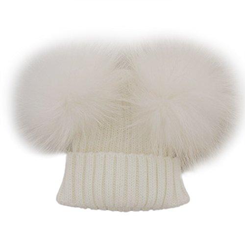 MIOIM Unisex Baby Boys Girls Wool Knit Hat Raccoon Fur Double Big Ball Pompom Bobble Ski Cap