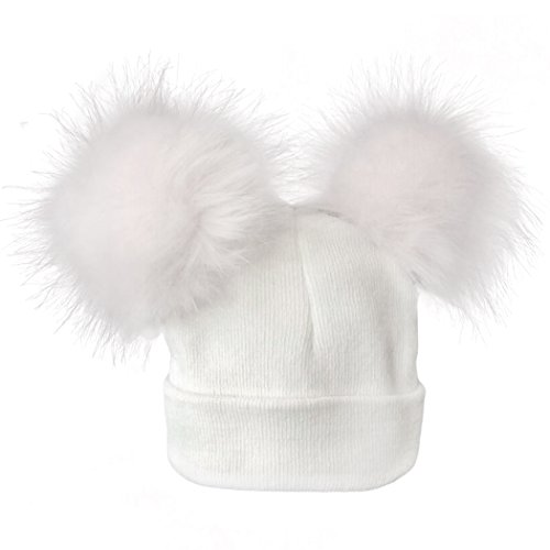 MIOIM Beautiful Baby Girls Boys Winter Hat Double Faux Fur Pompom Beanies Ski Cap