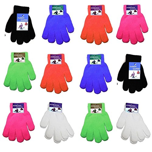 Children Warm Magic Gloves 12 Pairs Teens Winter Gloves Boys Girls Knit Gloves(7 to 16 years old) (Rainbow1)