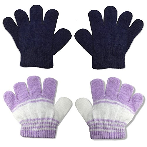 2 Pair Pack Infant to Toddler Baby Gloves Stretchy Knit Warm Winter (Ages 0-3) (Navy/Purple Stripe)