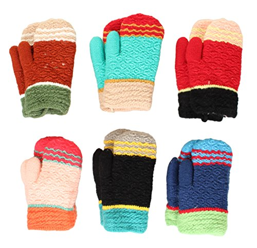 Toddler 2-3 Years Soft And Warm Fuzzy Interior Lined Mittens 6-Pack