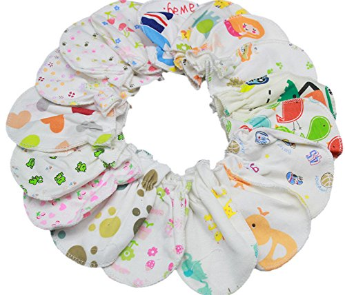 ZJY Baby Mittens, Stop Scratches and Germs, Pure Cotton, by Delight (Random 10 pairs)