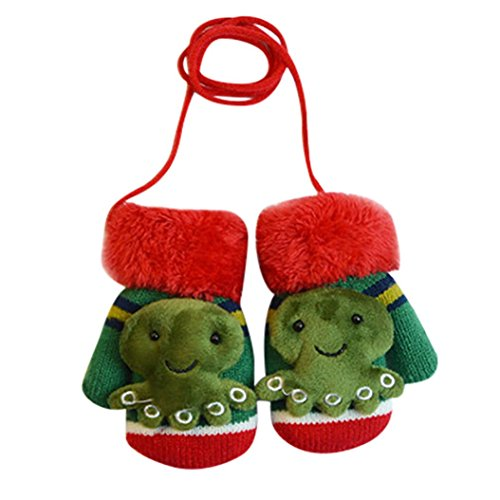 Baby Winter Mittens,ChainSee Boys Girls Cute Cartoon Thicken Gloves With String (Green, A)