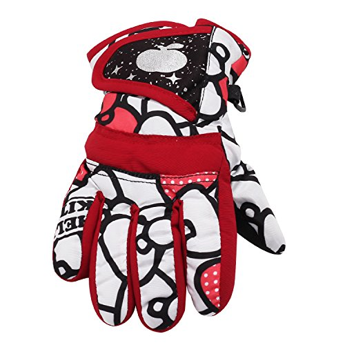 Refaxi Red Children Winter Warm Gloves Waterproof Slip-resistant Skiing Gloves Thermal Snowboarding Motorcycle Cycling Camping Hiking Gloves for Kids Boys Girls Ladies ( L-code)