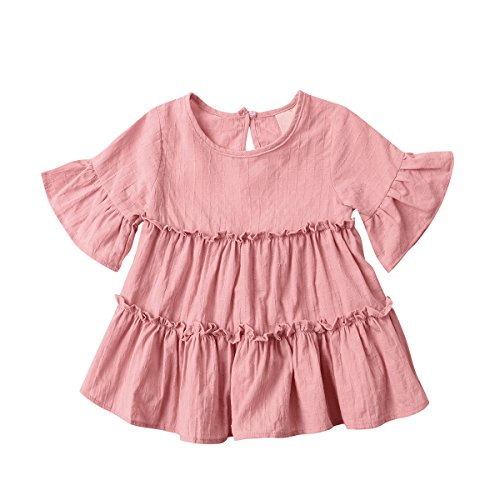 Baby Girl Dress / Skirt, Toddler Lotus Leaf Short Sleeve Cotton Dress 2017 New