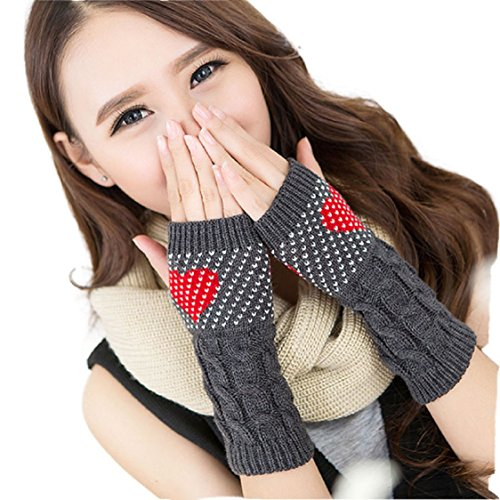 Ikevan Fashion Women's Knitting Wool Gloves Arm Warmer Fingerless Gloves Love Heart Dots Pattern Thicken Gloves Wrap Cuff Autumn Winter (Gray)
