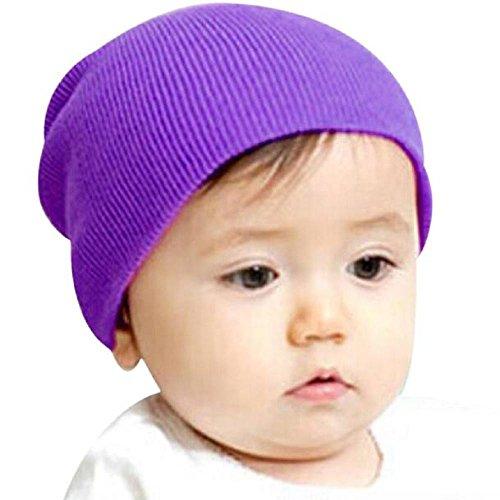 Baby Hat, Yasalu Baby Beanie Boy Girls Soft Stretchy Winter Warm Cap (Purple)