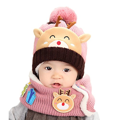 TAORE Baby Toddler Kids Boy Girl Knitted Christmas deer Soft Hat + Scarf (Pink)