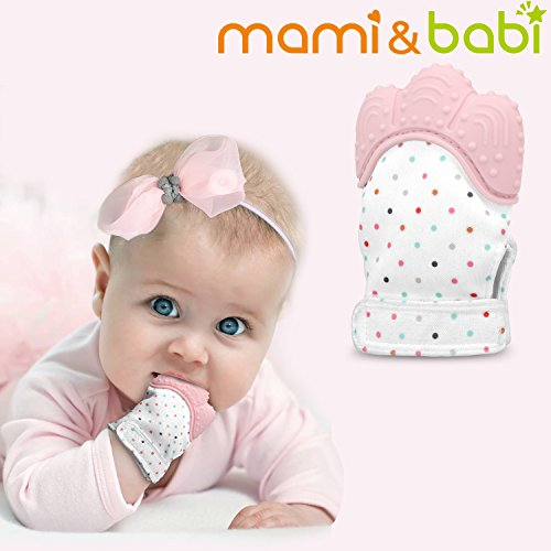 Baby Teething Mitten, Mami&babi Teether for Baby Self-soothing Pain Relief, BPA Free & Food Grade Teething Glove (Pink)