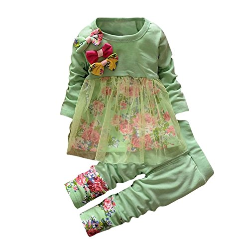 Baby Clothes Set, PPBUY Toddler Girls Floral T-shirt Dress + Pants 2PCS Outfits (18-24M, Green)