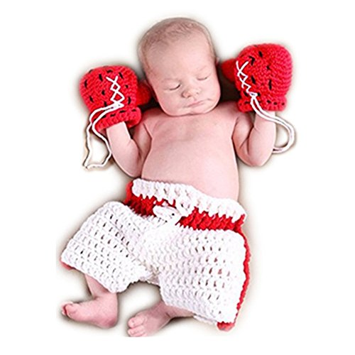 Vedory Newborn Baby Photography Shoot Outfits Cute Boxing Style Crochet Costume Glove Pants For Girl Boy Photo Props