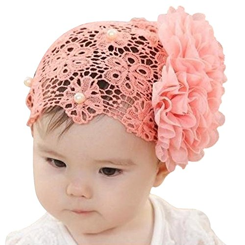 YOUR GALLERY Baby Girls Bright Lace Flower Bling Pearl Rhinestone Cap Hairband