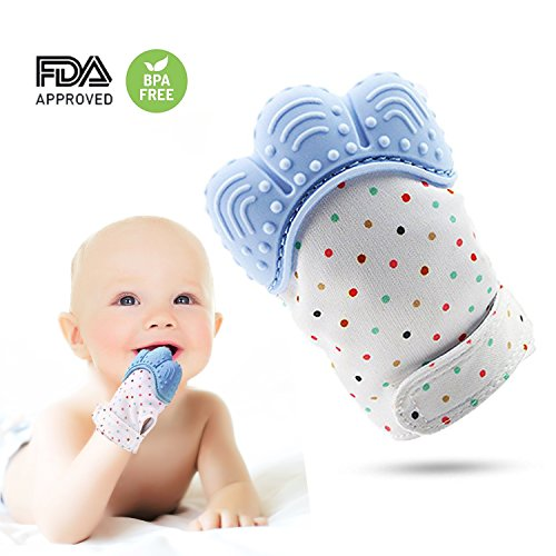 Soothing Teething Mitten-Safe Food Grade Teething Mitt BPA Free,Prevent Scratches Glove Stay on Babys Hand,teething Toys(Blue Color)