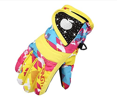 STAR HOME Winter Skiing Gloves Warm Kids Waterproof Gloves for Sports (Yellow, XL---6-8 Years old)