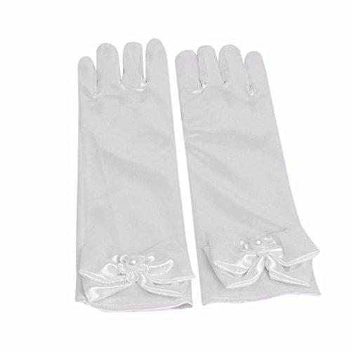 YJYdada Infant Baby Child Girls Elbow Long Party Gloves Wedding Gloves (White)