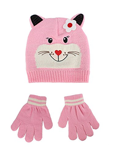 S.W.A.K Toddler Kids Girls Animal Character Hat with Elastic Mitten Gloves Set Pink