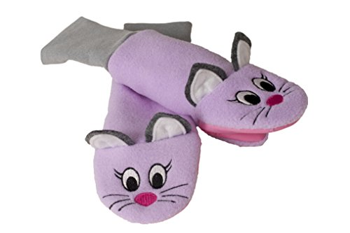 Stay On Sputtens Sock Puppet Mittens, Water Resistant Fleece, Ruby & Lioness - Kids Mittens - LARGE (For young kids. measure 13 in. from fingertips to elbow)