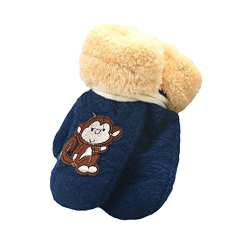 Amiley Toddler Baby Girl Boy Cute MonkeyWarm Knitted Gloves Thick Mittens Winter (Navy)
