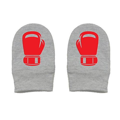 Mashed Clothing - Boxing Gloves - Baby Boy Baby Girl Boxer Gift Thick Premium, Thick & Soft Baby Mittens (Heather Gray, Red Print)