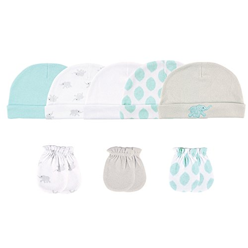 Luvable Friends Baby 5 Cap and 3 Pack Scratch Mitten Set, Teal/Gray Elephant 8 Piece, 0-6 Months