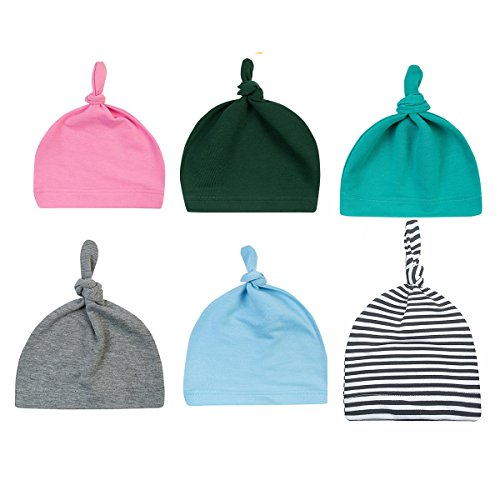 Menglihua Unisex Newborn Toddler Infant Cotton Soft Cute Lovely Adjustable Knot Hat 6PACK B One Size
