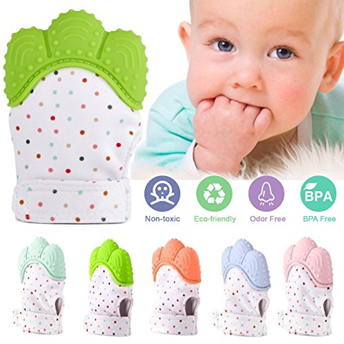 Baby Teething Mitten by Freshbee - Original Silicone BPA FREE Safe Food Grade Handy Glove Toy or Teething Ring for Babies Gum Pain, Teething Relief, Self-Soothing Fun (Green)