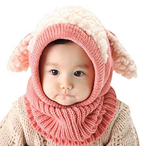 Baby Girls Boys Cartoon Dog Winter Hat Scarf Woolen Earflap Hooded Scarves  Beanie Skull Caps (Pink) d45b2d8385c