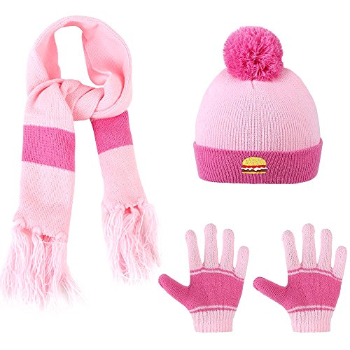 Better Selection Beanie Babies Hat, Winter Hat For Kids 3-Pieces Winter Hat + Scarf + Gloves Set For Girls