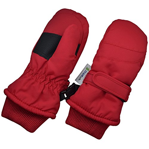 Children Toddlers and Baby Mittens Made With Thinsulate and Fleece - Winter Waterproof Gloves - KX GEAR by Zelda Matilda, Red, 1-2 years
