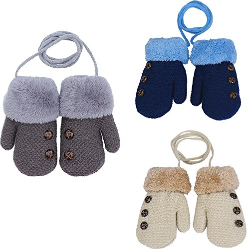 Unisex Baby Toddler and Kids Gloves With Winter Thick Warm Mittens for 1-7 Years(3pairs) (1-3 Years old)
