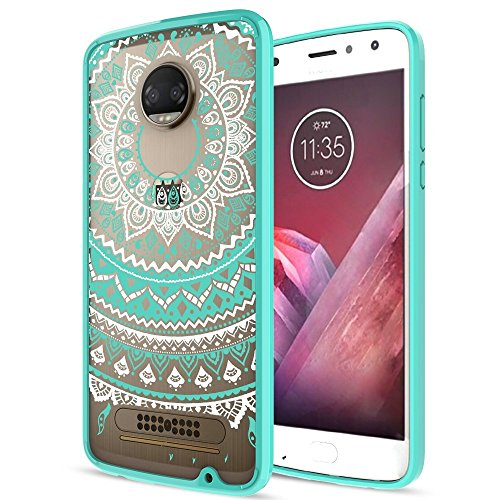 Moto Z2 Play Case Clear With HD Screen Protector,AnoKe [Scratch Resistant] Colors Totem Mandala Bumper Hybrid Slim Fit Protective Case Cover For Motorola Moto Z2 Play (2nd Generation)-CH Mint