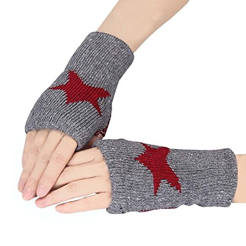 Sunfei Men Women Winter Warmer Star Knitted Mittens Fingerless Arm Glove (Gray)