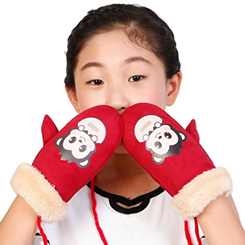 Malada Winter Children Girls Boys Twist Gloves Warm Full Finger Gloves (Red)