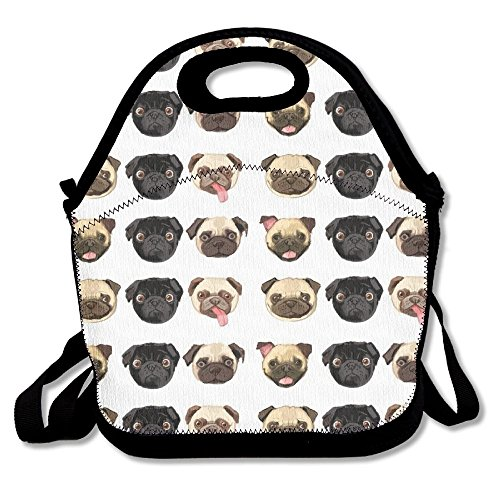 Black Yellow Pug Insulated Lunch Bag Picnic Lunch Tote For Work, Picnic, Travelling