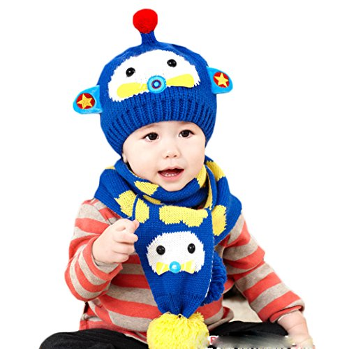 Hikfly Winter Knit Hat Scarf Set for Baby Girls Boys Toddlers Outdoor Sports Thermal Beanie Cap Warmer Scarf Xmas Gift (6-36 months) (Blue, Plane)