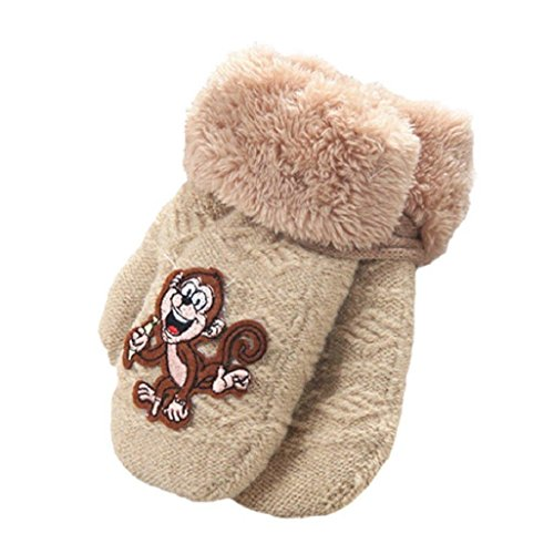 Auxma Warm Gloves Baby Girls Boys Cute Monkey Pattern Winter Gloves Infant Thicken Comfort Mittens (Beige)