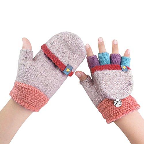 Kids Toddler Thermal Flip Top Gloves Mittens with Mitten CoverBaby Boys Girls Winter Warm Knitted Wool Stretch Half Finger Gloves Teen Children Thicken Warm Cozy Fingerless Hand Wear Gloves