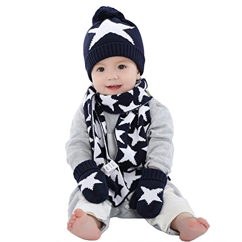 Zulaniu 3PCS Baby Toddler Crochet Beanie Knitted Cap Scarf Gloves Starfish Mitten Accessory Set (Navy, 1-2T)